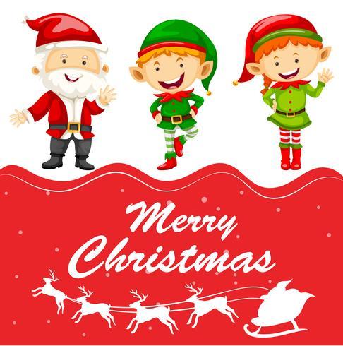 Modèle de carte de Noël avec Père Noël et elfe vecteur
