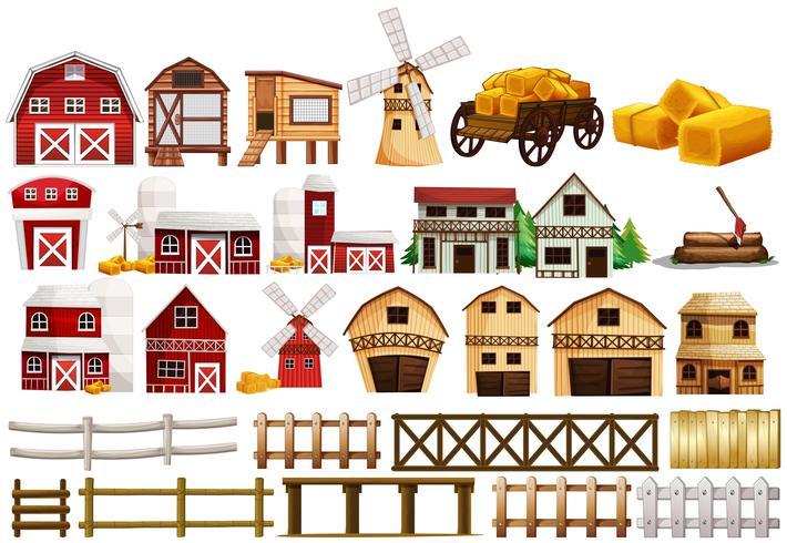 Conception différente des granges et des clôtures vecteur