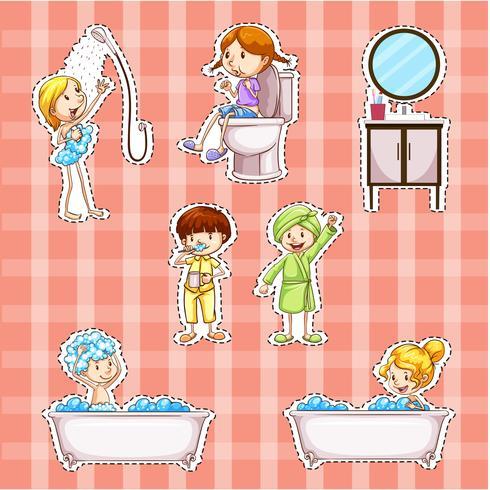 Conception d'autocollant avec des enfants faisant des choses dans la salle de bain vecteur