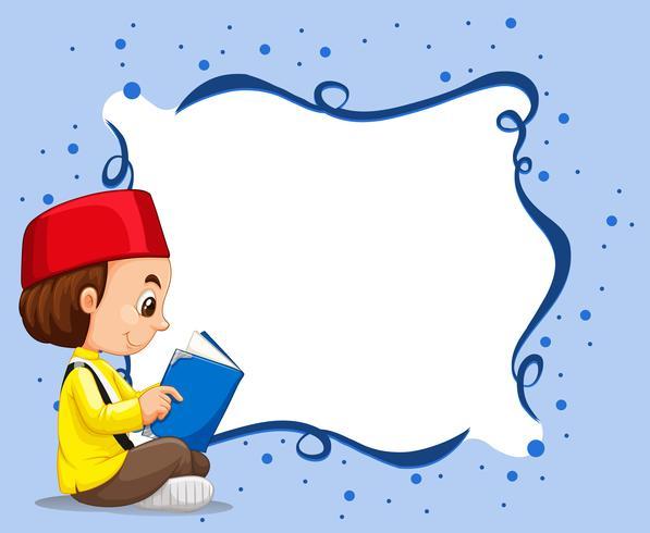 Frontière vide avec musulman garçon, lecture, fond vecteur