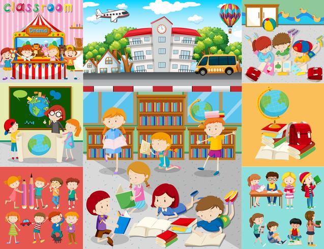 Différentes scènes d'enfants à l'école vecteur