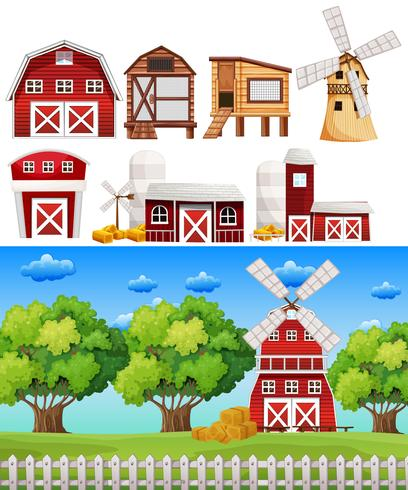 Scène de ferme avec différents bâtiments vecteur