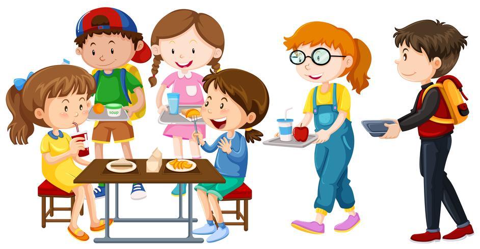Enfants déjeunant à table vecteur