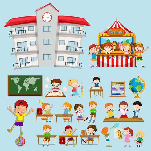 Scènes d'école avec des enfants en classe vecteur