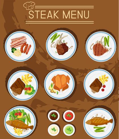 Menu steak avec différents types de viandes vecteur