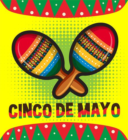 Modèle de carte Cinco de Mayo avec maracas vecteur