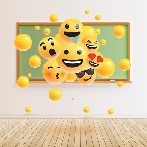 Différents smileys réalistes devant un tableau vert, illustration vectorielle vecteur