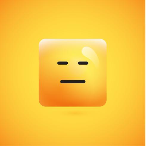 Haut émoticône carré jaune détaillé sur fond jaune, illustration vectorielle vecteur