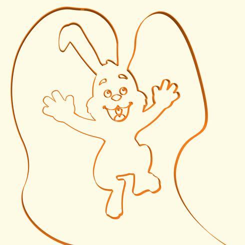 Illustration d'animaux ligne 3D lapin, illustration vectorielle vecteur