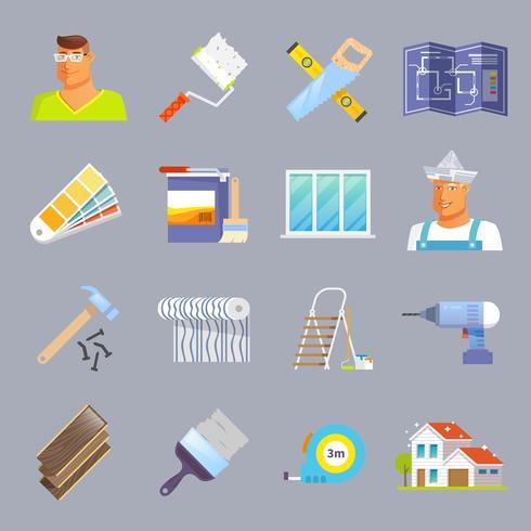 Ensemble d'icônes plat de rénovation vecteur
