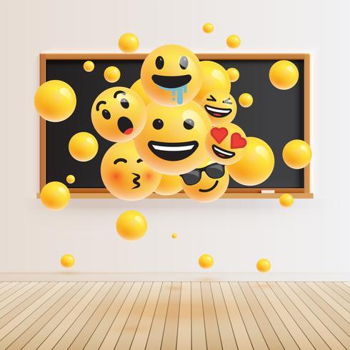 Différents smileys réalistes devant un tableau noir, illustration vectorielle vecteur