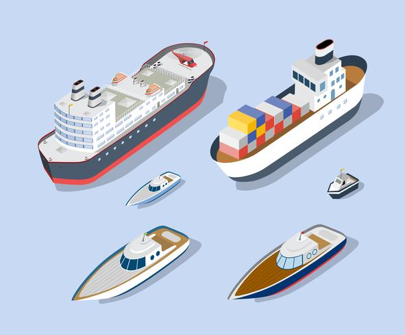 Modèles isométriques de navires vecteur