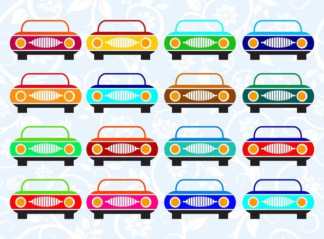 Voiture taxi de différentes couleurs vecteur