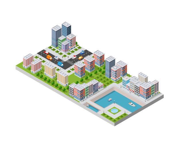 Illustration isométrique d'une ville vecteur