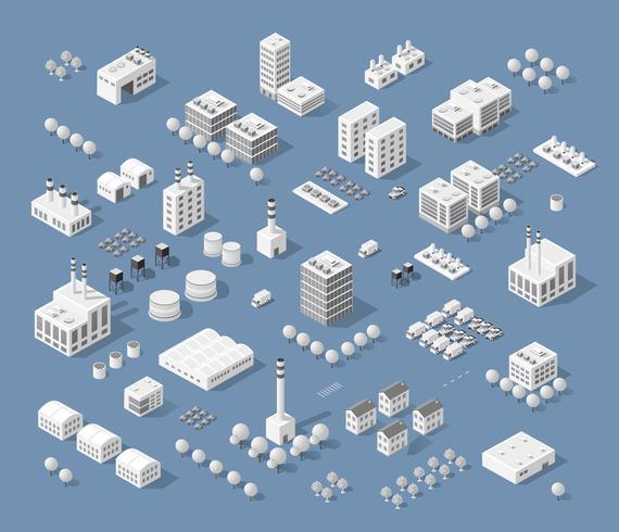 Ensemble de bâtiments isométriques modernes vecteur