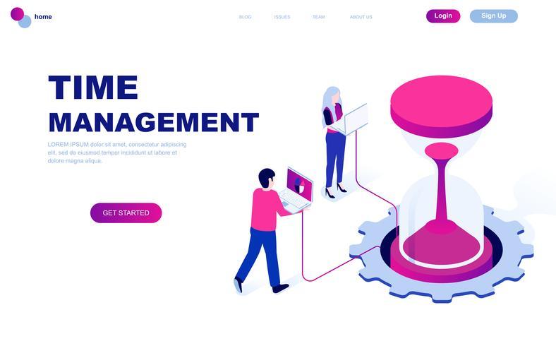 Concept isométrique de design plat moderne de gestion du temps vecteur