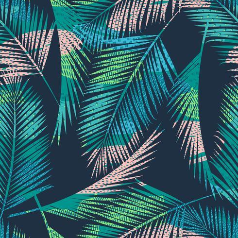 Modèle exotique sans couture avec des plantes tropicales. Fond de vecteur. vecteur