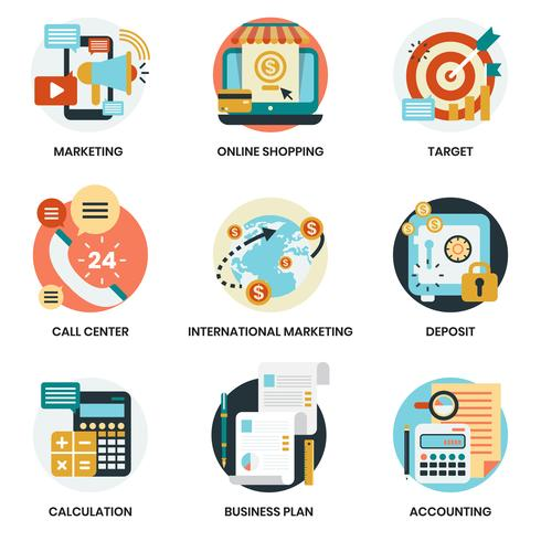 Icônes d'affaires définies pour les entreprises, marketing vecteur