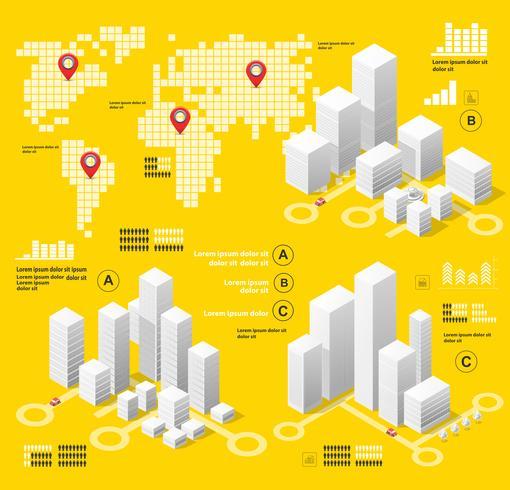 Infographie illustration jaune vecteur