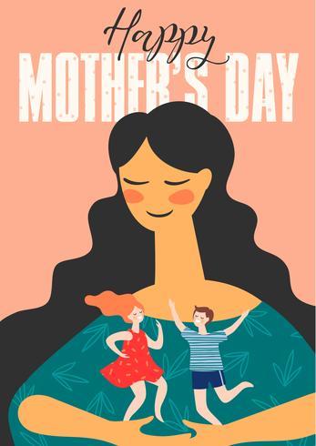 Bonne fête des mères. Femme et enfant vecteur