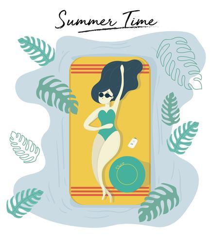 femme porter des lunettes de soleil bronzage sur piscine en été heure vecteur funky stlye