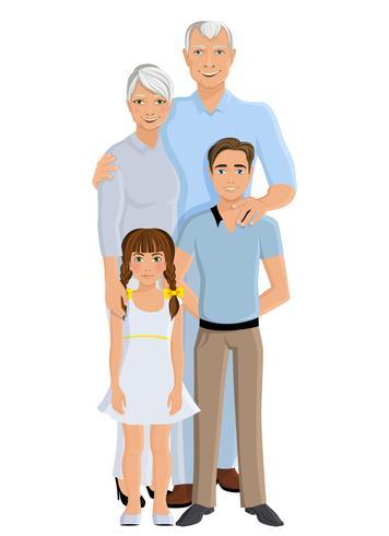 Grands-parents petite-fille et petit-fils vecteur