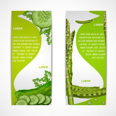 Bannières verticales de légumes vecteur