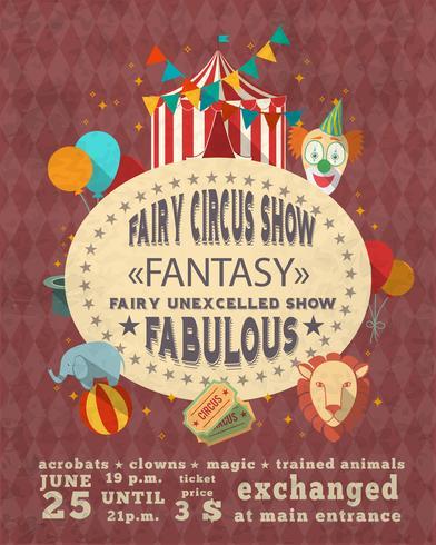 Affiche publicitaire vintage de cirque vecteur