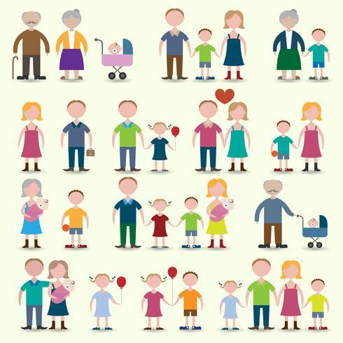 Jeu d'icônes de famille vecteur