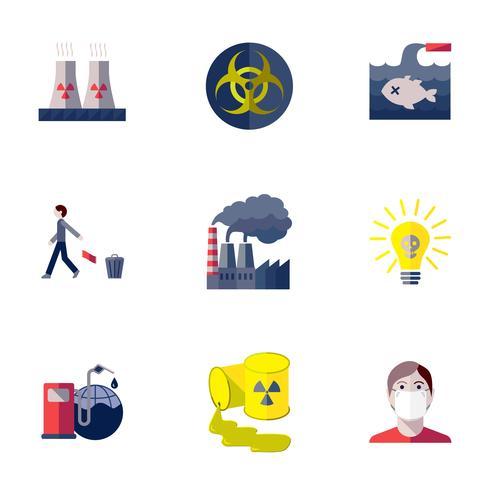 Ensemble d'icônes de pollution vecteur