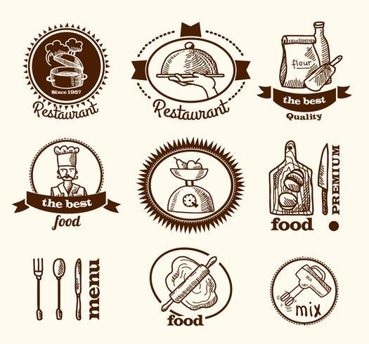 Esquisse d'étiquette de restaurant vecteur