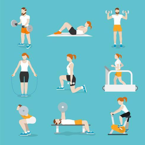 Les gens gym exercices set d'icônes vecteur