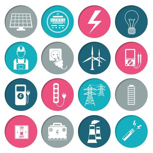 Jeu d'icônes de puissance électrique vecteur