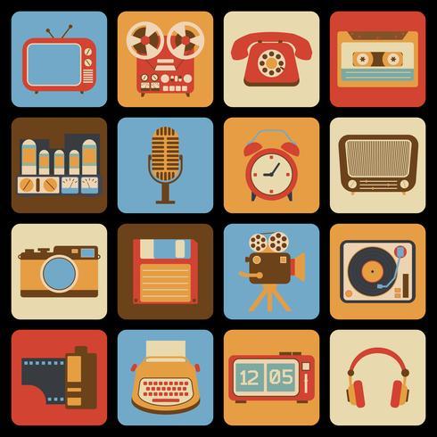 Icônes de gadget vintage vecteur