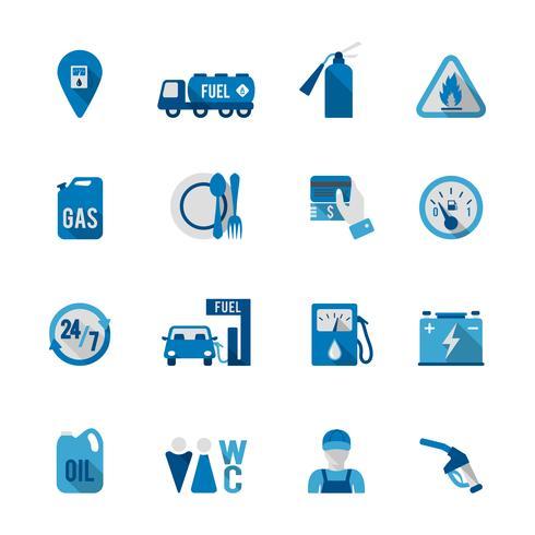 Ensemble d'icône de station d'essence vecteur
