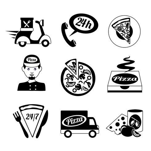 Icônes de pizza définies en noir et blanc vecteur
