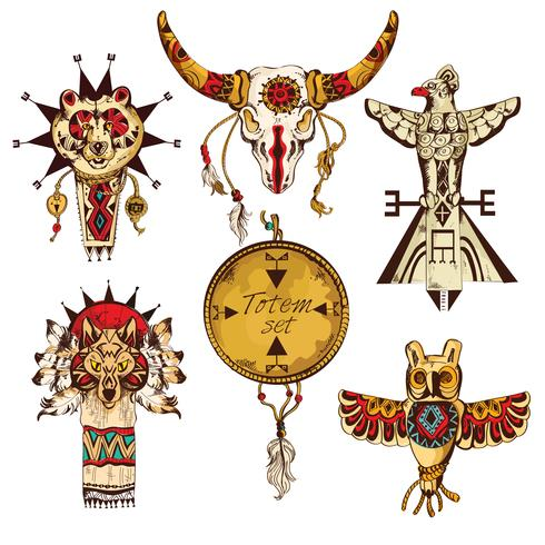 Ensemble coloré de totems américains ethniques vecteur