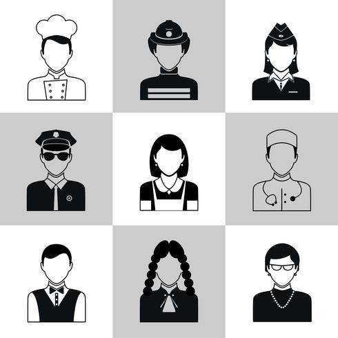 Ensemble d'icônes Avatar noir vecteur