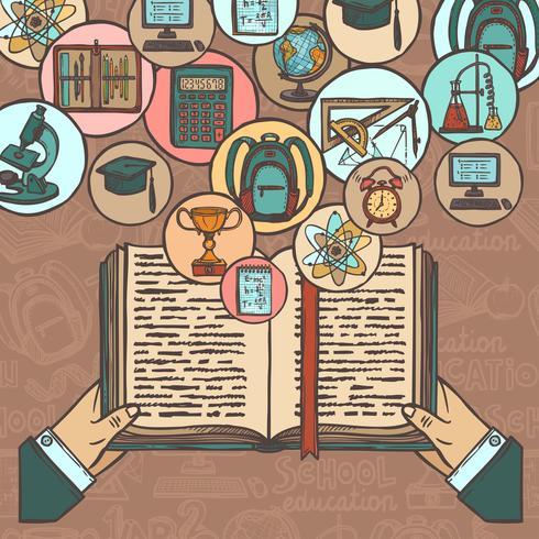Icônes de croquis de livre et de l'éducation vecteur