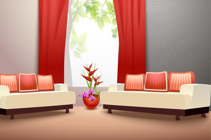 Salon de design d'intérieur vecteur