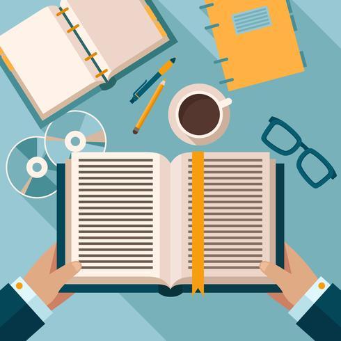 Lecture de livres sur le bureau vecteur
