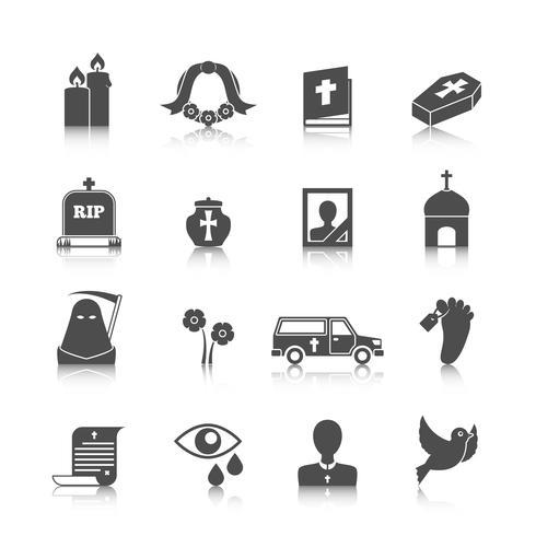 Ensemble d'icônes funéraires vecteur