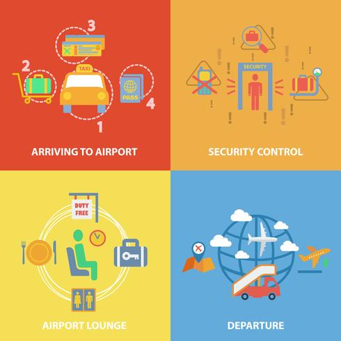 Composition plate d'icône d'aéroport vecteur
