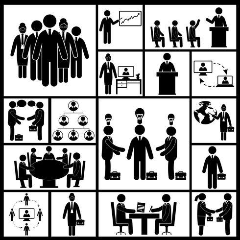 Icônes de réunion définies en noir vecteur