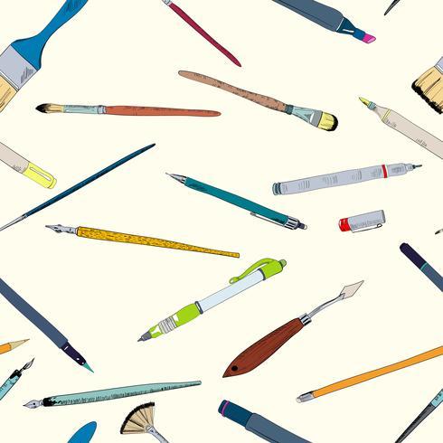 Outils de dessin doodle croquis sans soudure vecteur