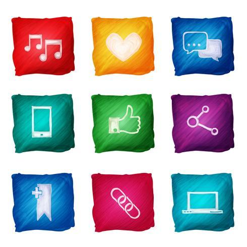 Aquarelle d'icônes de médias sociaux vecteur