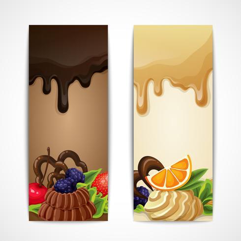 Bannières de chocolat verticales vecteur