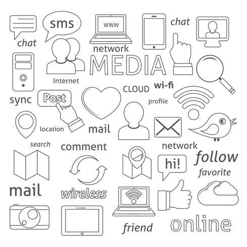 Composition d'icônes de réseaux sociaux vecteur
