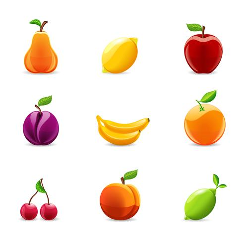 Ensemble d'icônes de fruits vecteur