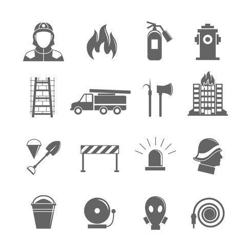 Jeu d'icônes de lutte contre les incendies vecteur
